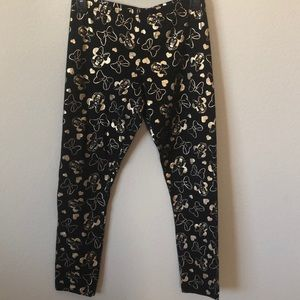 Disney Black & Gold Minnie Mouse Leggings - XL